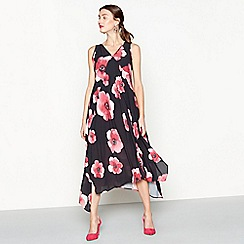 RJR.John Rocha - Black floral print V-neck high low dress