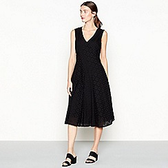 RJR.John Rocha - Black broderie cotton V-neck midi dress
