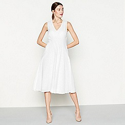 RJR.John Rocha - White broderie cotton V-neck midi dress