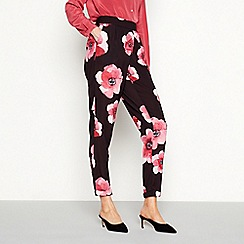RJR.John Rocha - Black floral print loose fit trousers