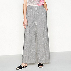 RJR.John Rocha - Grey check print linen loose fit wide leg trousers