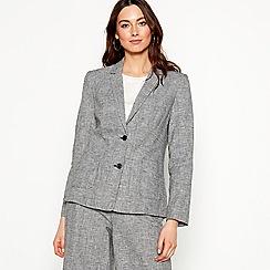 RJR.John Rocha - Grey check print linen blend jacket