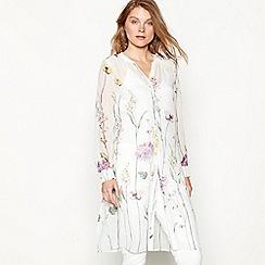 RJR.John Rocha - White floral print chiffon V-neck shirt