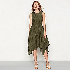 RJR.John Rocha - Khaki broderie cotton round neck sleeveless high low dress