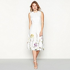 RJR.John Rocha - White floral print linen round neck sleeveless midi dress