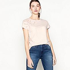 RJR.John Rocha - Light pink floral mesh cotton round neck t-shirt