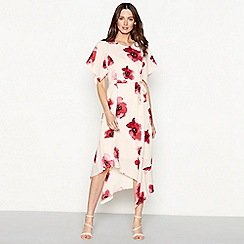 RJR.John Rocha - Pink floral print crepe round neck short sleeve high low dress