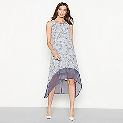 RJR.John Rocha - Grey smudge print chiffon round neck high low dress
