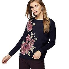 RJR.John Rocha - Navy floral print wool blend jumper