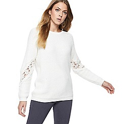RJR.John Rocha - Cream knitted lace sleeve jumper