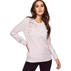 RJR.John Rocha - Lilac floral cut-out wool blend jumper