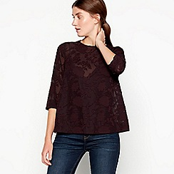 RJR.John Rocha - Plum floral jacquard button back top