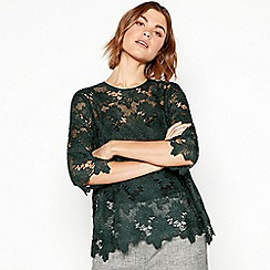 RJR.John Rocha - Dark green chunky lace short sleeve top