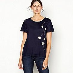 RJR.John Rocha - Navy floral mesh Appliqué short sleeve top