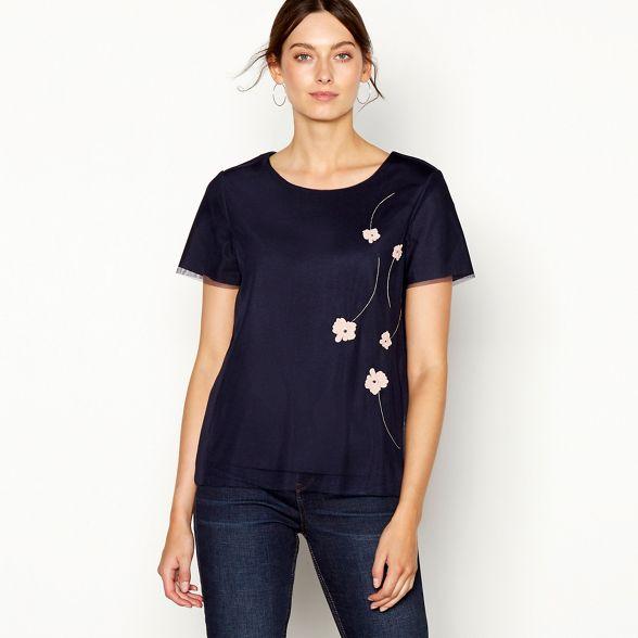 Navy RJR Rocha top sleeve short John Appliqué floral mesh wwU4TEq