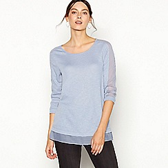 RJR.John Rocha - Light blue chiffon trim round neck top