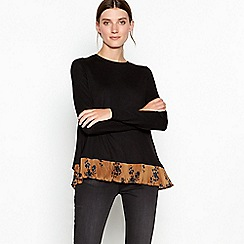RJR.John Rocha - Black and light gold floral print woven hem jumper