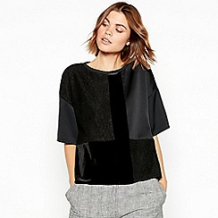 RJR.John Rocha - Black patchwork velvet short sleeve top