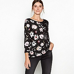 RJR.John Rocha - Black contrast floral print long sleeve top