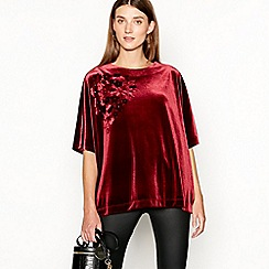 RJR.John Rocha - Red velvet applique flower kimono top