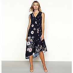 RJR.John Rocha - Navy floral print chiffon sleeveless high low dress
