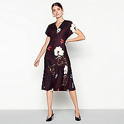 RJR.John Rocha - Plum 'Amelia' floral print side pleat midi dress