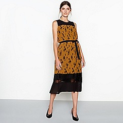 RJR.John Rocha - Dark gold floral print pleated chiffon sleeveless midi dress