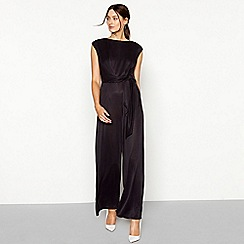RJR.John Rocha - Dark grey tie front cupro full length jumpsuit