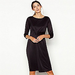 RJR.John Rocha - Dark grey twist front cupro round neck knee length dress