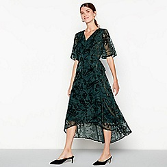 RJR.John Rocha - Dark green 'Devore' floral wrap midi dress