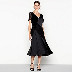 a197dac3cb34e John Rocha - Black patchwork lace velvet midi dress