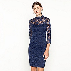 RJR.John Rocha - Navy victorian high neck lace dress