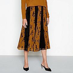 RJR.John Rocha - Dark gold floral print pleated chiffon 'Celia' midi skirt