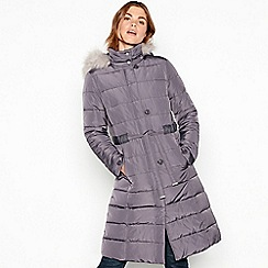 RJR.John Rocha - Light grey padded belted coat