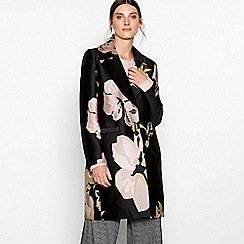 RJR.John Rocha - Black floral jacquard single breasted coat