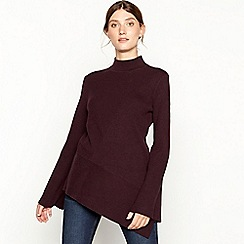 RJR.John Rocha - Plum asymmetric ribbed knit high neck jumper
