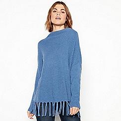 RJR.John Rocha - Blue fringed jumper with wool