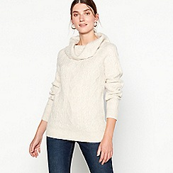RJR.John Rocha - Cream chunky cable knit cowl neck jumper