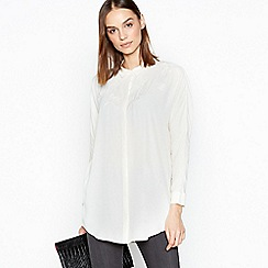 RJR.John Rocha - Cream Longline Flower Applique Shirt