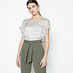 RJR.John Rocha - Grey Floral Embroidered Chiffon Top