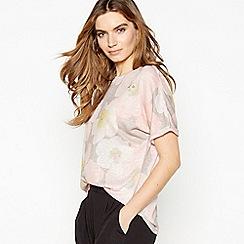 RJR.John Rocha - Grey Floral Print Linen T-Shirt