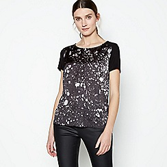 RJR.John Rocha - Black Marble Print Button Trim Top