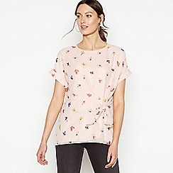 RJR.John Rocha - Pale Pink Floral Print Tie Front Top
