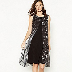 RJR.John Rocha - Black Marble Print Split Front Knee Length Dress