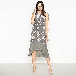 RJR.John Rocha - Dark Grey Floral Silk Midi Dress