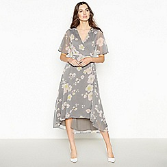 RJR.John Rocha - Dark Grey Floral Print Midi Wrap Dress