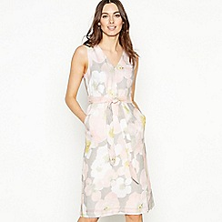 RJR.John Rocha - Light Grey Petal Print Linen Knee Length Shift Dress