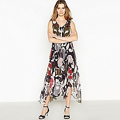 RJR.John Rocha - Black Abstract Floral Print 'Nicola' Midi Dress
