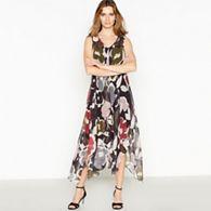 812c0bcdbc RJR.John Rocha Black Marble Print Split Front Knee Length Dress ...