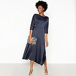 RJR.John Rocha - Navy Satin Batwing Maxi Dress